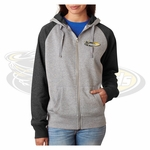 Yelm MS Staff J America Ladies' Glitter French Terry Contrast Full-Zip Hood. JA8868.