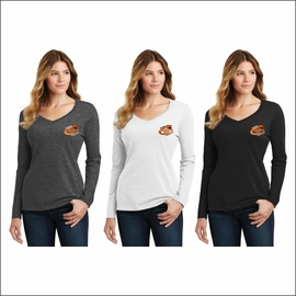 Rainier MS Staff Port & Company Ladies Long Sleeve Fan Favorite V-Neck Tee. LPC450VLS.