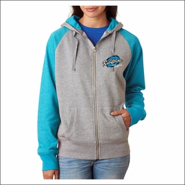 Ridgeline Staff J America Ladies' Glitter French Terry Contrast Full-Zip Hood. JA8868.