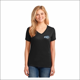 Ridgeline Staff Port & Company Ladies Core Cotton V-Neck Tee. LPC54V.