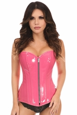 Top Drawer Pink Patent PVC Steel Boned Over Bust Corset