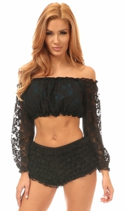 Teal w/Black Lace Overlay Long Sleeve Peasant Top