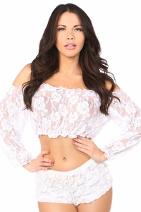 White Sheer Lace Long Sleeve Peasant Top