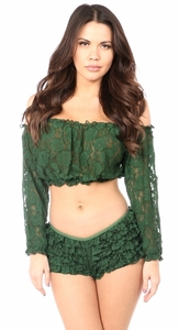 Dark Green Sheer Lace Long Sleeve Peasant Top