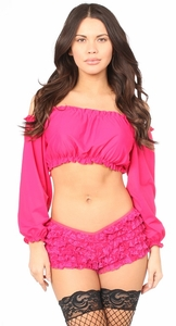Fuchsia Long Sleeve Peasant Top