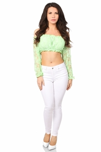 Lt Green Lined Lace Long Sleeve Peasant Top