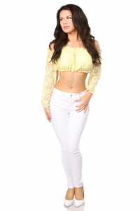 Yellow Lined Lace Long Sleeve Peasant Top