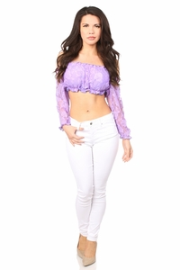 Lilac Lined Lace Long Sleeve Peasant Top