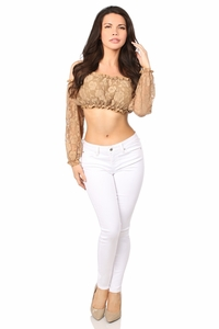 Beige Lined Lace Long Sleeve Peasant Top