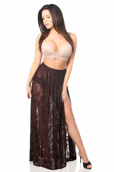 Sheer Dark Brown Lace Skirt