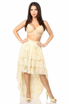 Cream High Low Lace Skirt