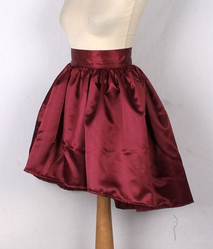 Wine Satin Short Skirt