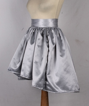 Silver Satin Short Skirt