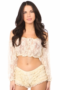 2 PC Cream Sheer Lace Bralette & Panty Set