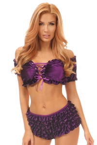 2 PC Purple Velvet Lace-Up Set