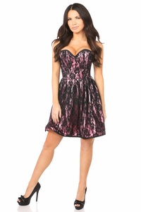 Top Drawer Pink Steel Boned Lace Corset Dress