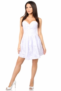 Top Drawer Steel Boned White Lace Empire Waist Corset Dress