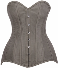 Top Drawer CURVY Olive Green Cotton Double Steel Boned Corset