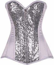 Top Drawer White/Silver Sequin Steel Boned Corset