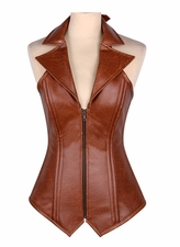 Top Drawer Steel Boned Faux Leather Collared Corset