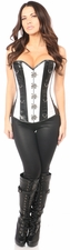 Top Drawer White Brocade & Faux Leather Steel Boned Corset