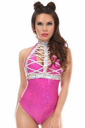 Silver Holo Lace-Up Body Harness
