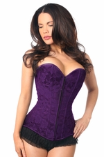 Lavish Dark Purple Lace Overbust Corset w/Zipper