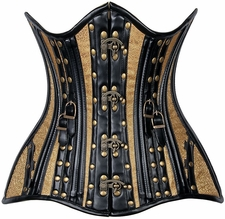 Top Drawer CURVY Faux Leather & Brocade Steel Boned Under Bust Corset w/Rivets