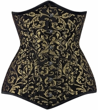 Steel Boned Brocade Long-Line Under Bust Corset