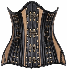 Top Drawer CURVY Faux Leather Steel Boned Under Bust Corset w/Rivets