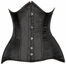 Lavish CURVY Black Brocade Under Bust Corset