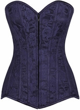Lavish Navy Blue Lace Overbust Corset w/Zipper
