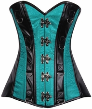 Top Drawer Teal Brocade & Faux Leather Steel Boned Corset