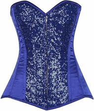 Top Drawer Blue Sequin Steel Boned Corset