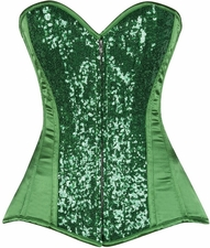 Top Drawer Green Sequin Steel Boned Corset