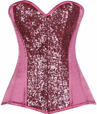 Top Drawer Pink Sequin Steel Boned Corset
