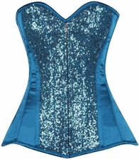 Top Drawer Turquoise Sequin Steel Boned Corset