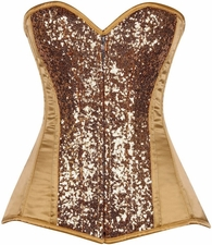 Top Drawet Gold Sequin Steel Boned Corset