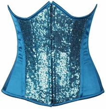 Top Drawer Turquoise Sequin Steel Boned Under Bust Corset