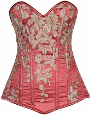 Top Drawer Elegant Coral Floral Embroidered Steel Boned Corset