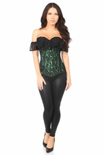 Lavish Green Lace Off-The-Shoulder Corset