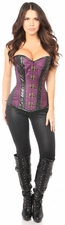 Top Drawer Plum Brocade & Faux Leather Steel Boned Corset
