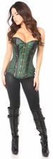 Top Drawer Dark Green Brocade & Faux Leather Steel Boned Corset