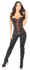 Top Drawer Brown Brocade & Faux Leather Steel Boned Corset
