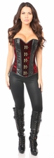 Top Drawer Red Velvet & Faux Leather Steel Boned Corset