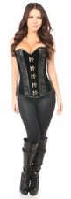 Top Drawer Green Velvet & Faux Leather Steel Boned Corset