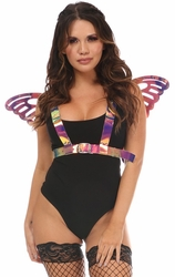Rainbow Holo Body Harness w/Wings - Large