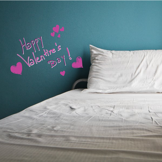Happy Valentine's Day Bubbling Hearts Decal