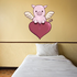 Holiday Valentine's Day Pig with Wings on Heart Sticker