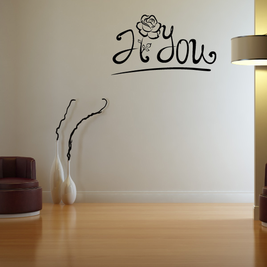 I Love You Valentine's Day Flower Decal